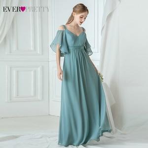 Image 4 - Ever Pretty Pink Bridesmaid Dresses A Line V Neck Off The Shoulder Elegant Long Dresses For Wedding Party Robe Mousseline 2020