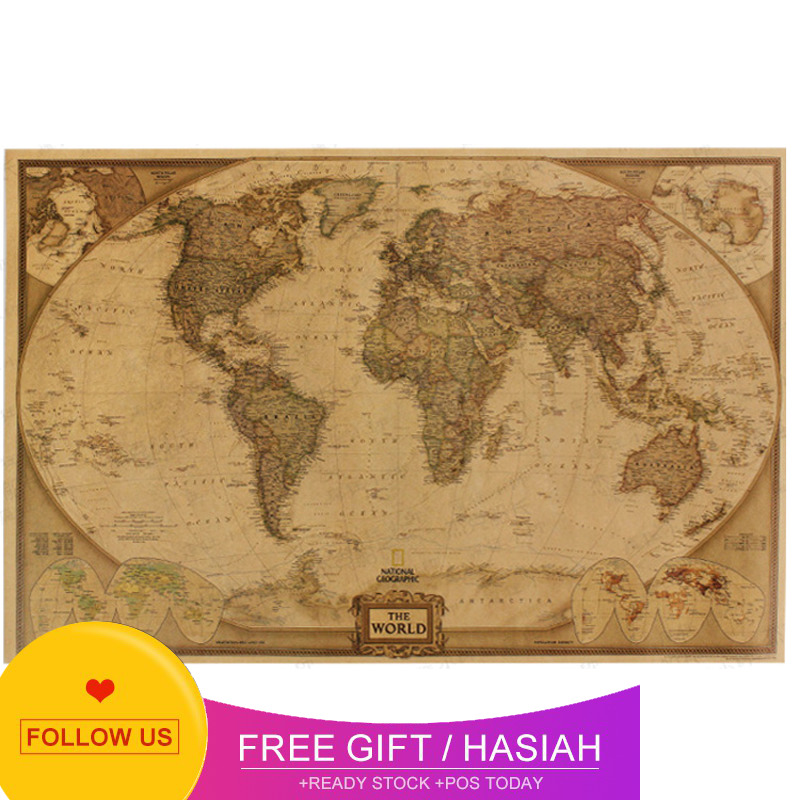 Super Vintage Kraft Paper World Map Travle Large Home Decoration Antique Poster Wall Chart Retro School