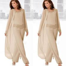 Champagne Mother Of Bride Pant Suits Jewel Neck Cheap Beadin