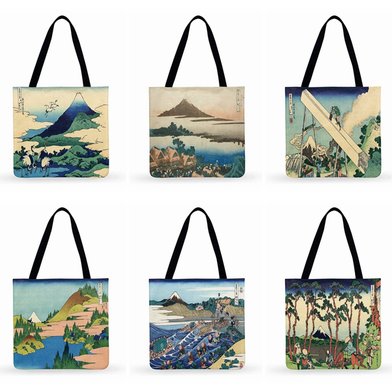 Japanese Art Painting Ukiyo-e Print Tote Bag For Women Casual Tote Ladies Shoulder Bag Outdoor Beach Tote Fashion Shopping Bag