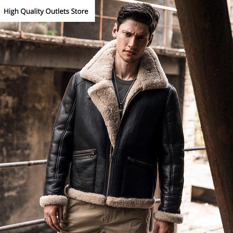 Men Sheepskin Jacket Outerwear Man Genuine Leather Coat Original Ecology Fur Coats