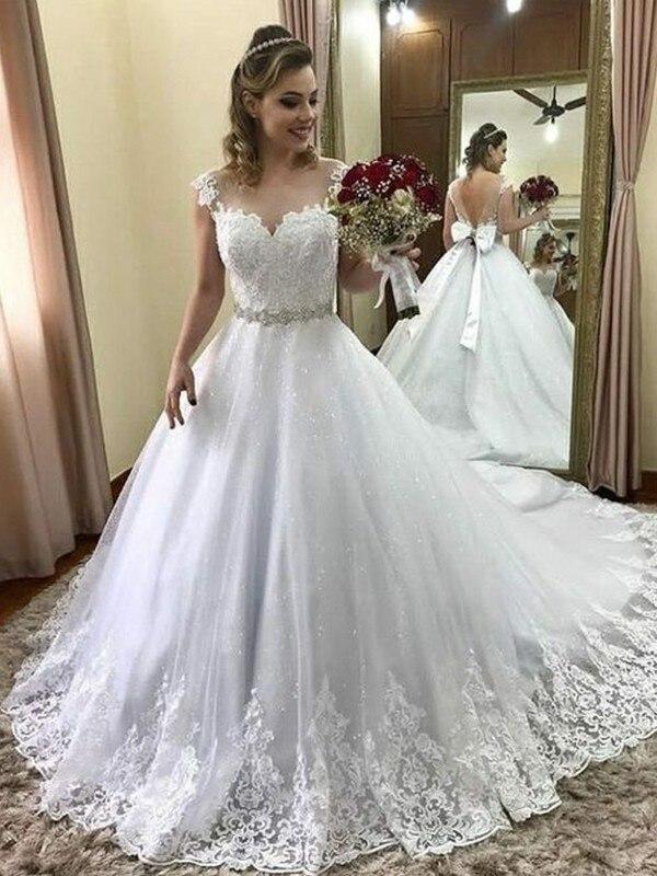 2020 Bride Dress Ball Gown Sweetheart Sleeveless Court Train Beading Tulle Wedding Dresses For Wedding