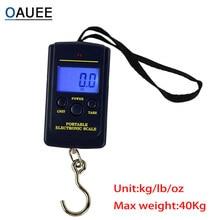 Oauee mini balança digital, balança digital portátil de 40kg x 10g para bagagem de pesca, balança de pendurar romana com gancho