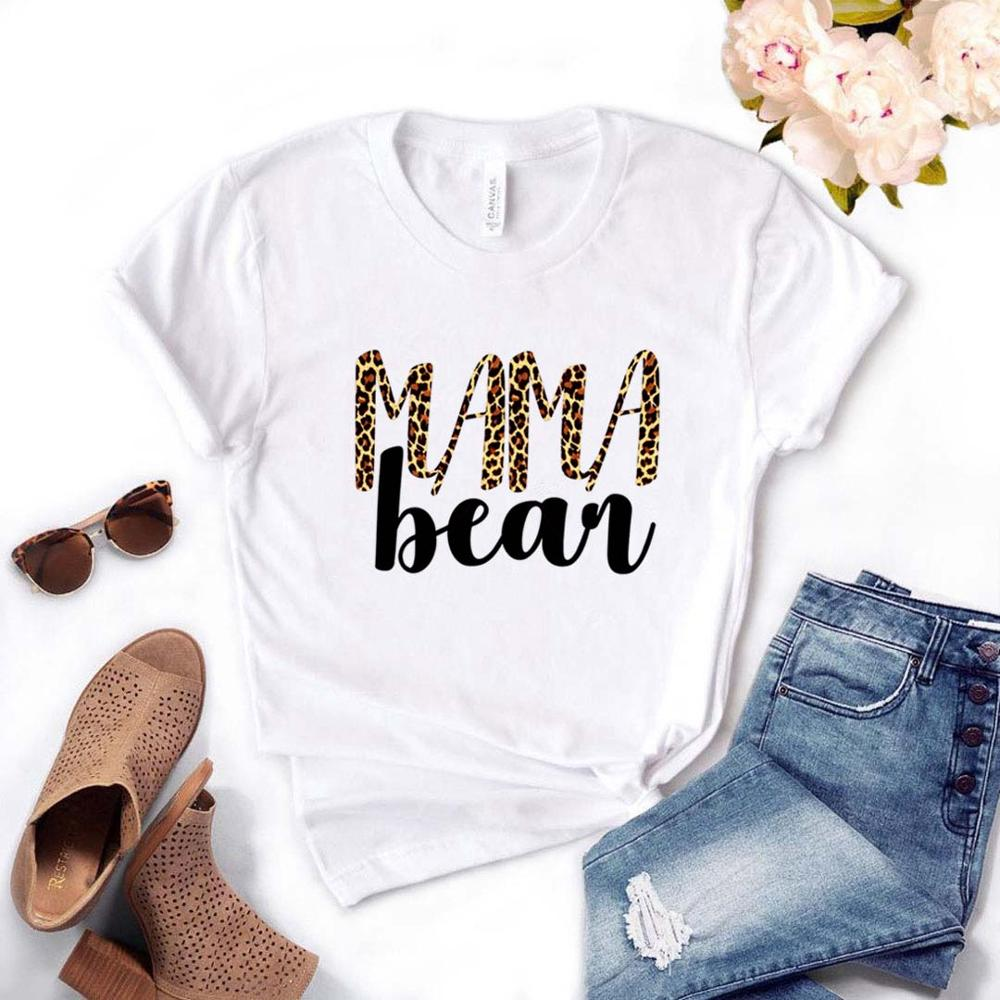 Mama Bear Leopard Print Women Tshirts Cotton Casual Funny T Shirt For Lady  Top Tee Hipster Drop Ship NA-514