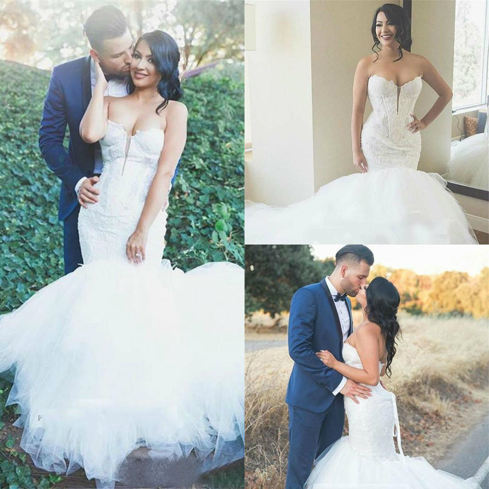 Mermaid Lace Fancy Tulle Wedding Dresses Sexy Sweetheart Neck 2020 Spring Sweep Train Bridal Gowns Customize Plus Size - 4