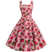 Loozykit Womens Strawberry Print Button Dress Decoration Pink Girl Women Cute Wind Party Evening
