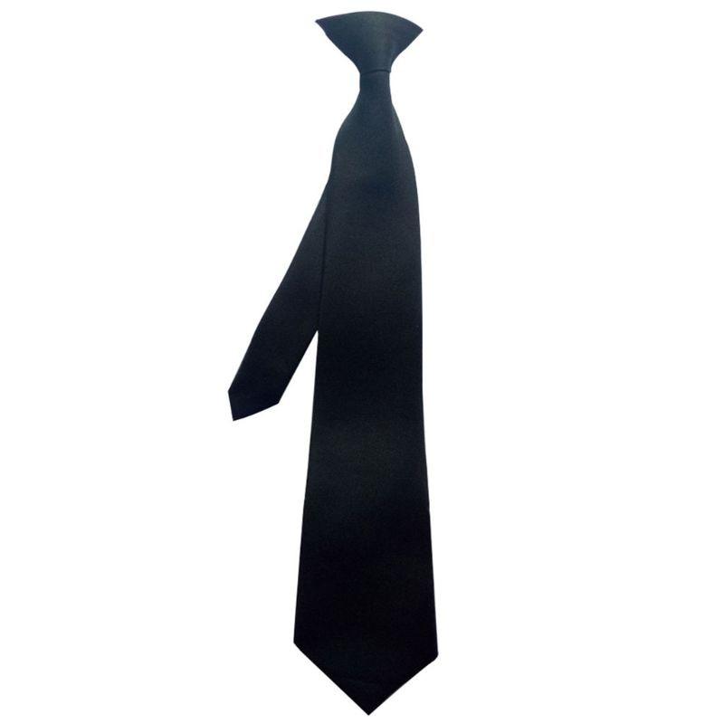 50x8cm Mens Uniform Solid Black Color Imitation Silk Clip-On Pre-Tied Neck Ties For Police Security Wedding Funeral