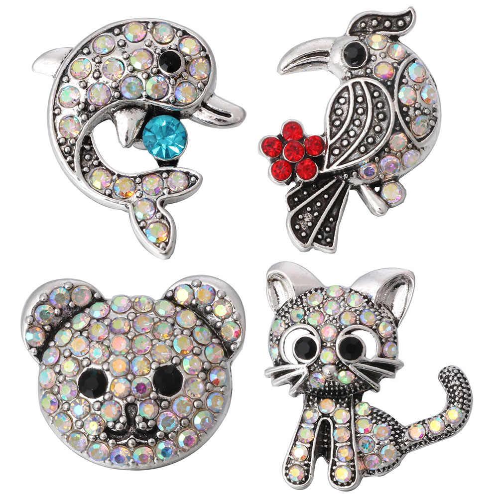 5 unids/lote nuevo 18MM Animal Snap joyería cristal moda encantador delfín pájaro carpintero oso gato Snap botones Cierre de ajuste DIY pulsera