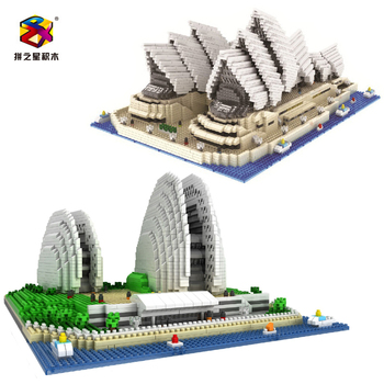 Children's educational toys PZX Architectural building block toy 3D Assembly Sydney Opera House mini Adult DIY bricks with box