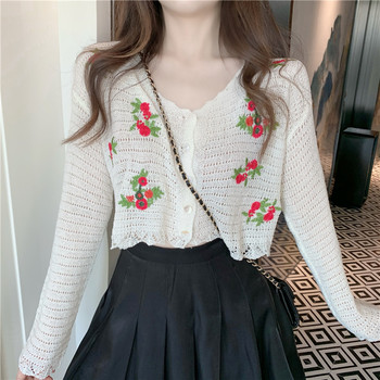Autumn Woman Cardigans Knit Crop Top Flower Embroidery Hollow Out Thin Korean Knitted Coat Long Sleeve V Neck 90s Women Clothes cut out neck back knit top