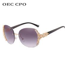 OEC-gafas de sol sin marco CPO para mujer, lentes de sol de lujo de gran tamaño con diamantes de imitación, Estilo Vintage, degradado, O128