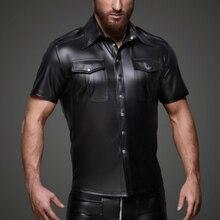 2019 New Sexy Men Faux Leather Skinny Short Sleeve Coats Shiny Latex PVC Punk Style Front Zipper Patent Slim
