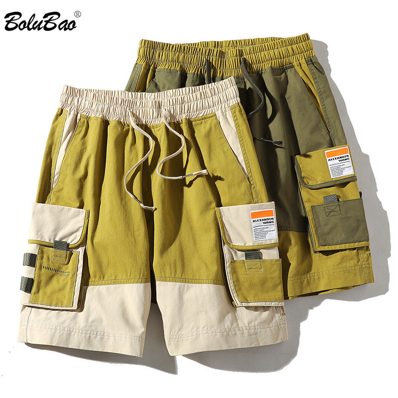BOLUBAO Brand Men Cargo Shorts Summer New Men's Harajuku Style Knee Length Shorts Fashion Patchwork Drawstring Shorts Male