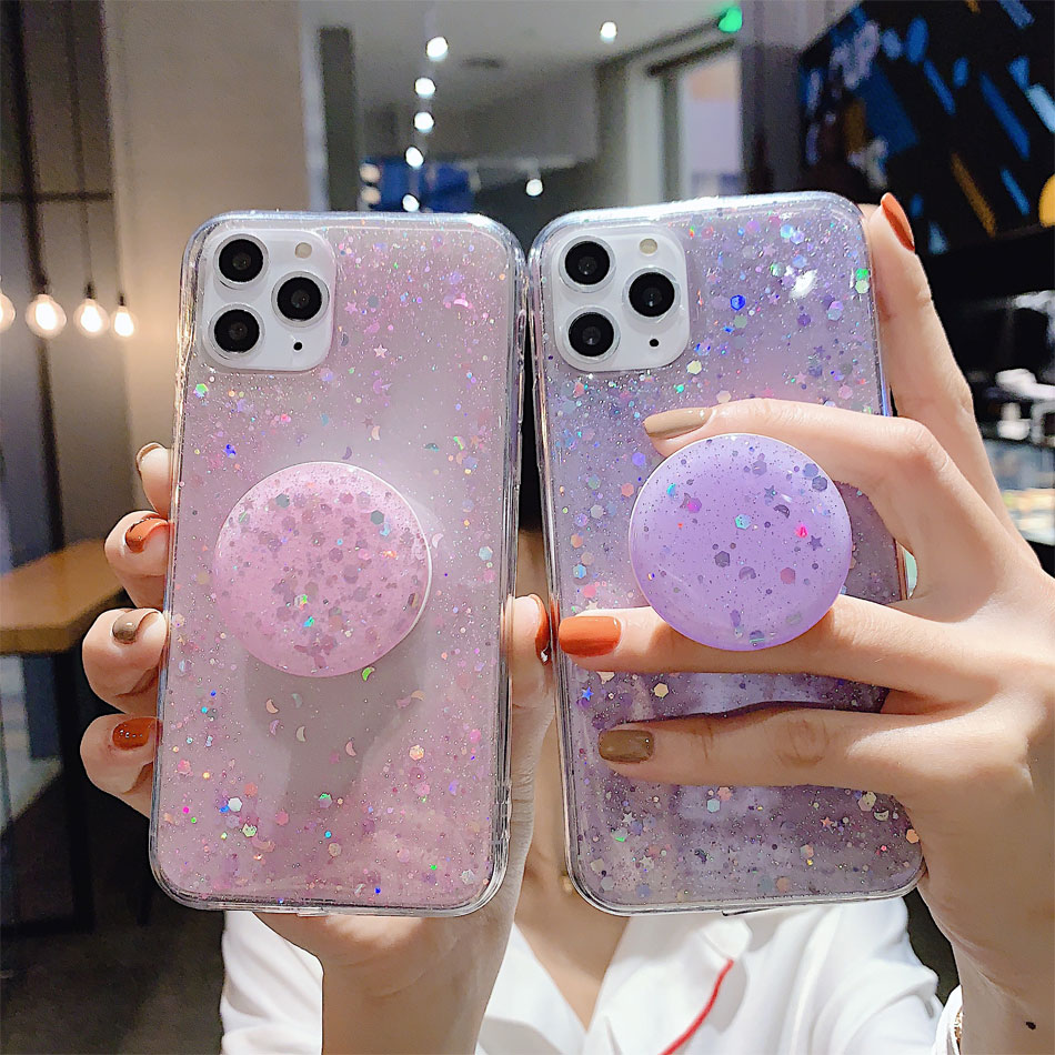 Ha06926e2a73e4878bdc45feebfe6b67dM - Bling Glitter Phone Case For iphone 11 Case 11 pro max 6 6s 7 8 Plus X XR XS Max Star Sequin Cover Funda Stand Holder Coque