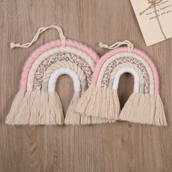 DIY lina tęcza ozdoba do powieszenia na ścianie ręcznie tkana tęcza dekoracja Nordic Ornament pokój dziecięcy akcesoria salon tanie i dobre opinie OOTDTY CN (pochodzenie) miłość Nowoczesne Cotton