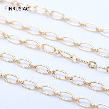 Jewellery Making Supplies Fashion Round Loops Link Chain For  Jewelry Making Plated 14K Gold Brass Chains DIY Necklace Bracelets
