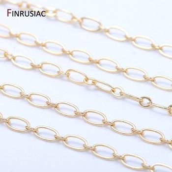цена Jewellery Making Supplies Fashion Round Loops Link Chain For Make Jewelry, Plated 14K Gold Brass Chains DIY Necklace Bracelets онлайн в 2017 году