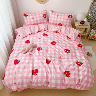 High Quality Bedding Set For Girls Sweet Strawberry Bed Sheet Duvet Cover Pillowcase Bedding Clothes Home Textile 4pcs/set