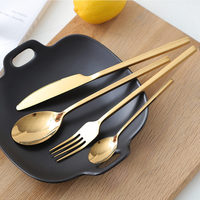 24pcs New Golden Top Quality Stainless Steel Steak Knife Fork Party Cutlery Set Gold Cutlery Kinfe Forks Set
