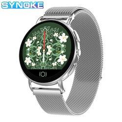 SYNOKE IOS Android Samrt zegarek tętno ciśnienie krwi kalorii snu sprawdź zegarek ze stali nierdzewnej relog inteligente mujer