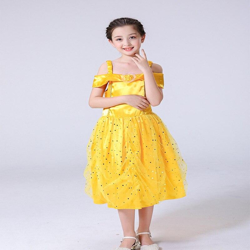 Foreign Trade New Style Dress Girls Beauty Belle Beast Princess Dress Camisole Bell Wang Sha Sequined Skirt