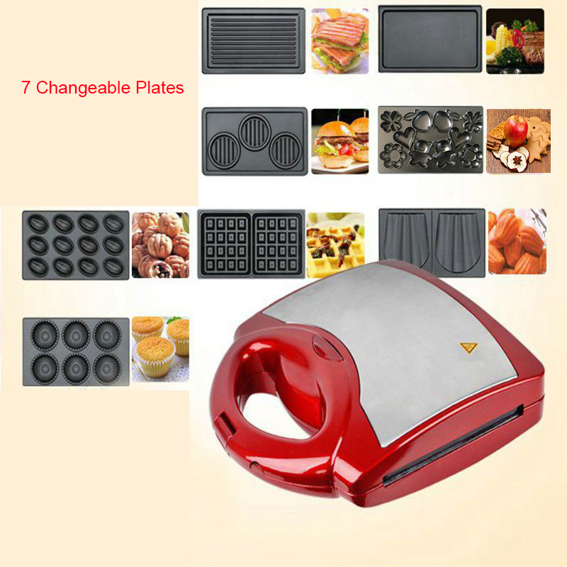 Multifunction Electric Egg Waffle Maker Donut Walnut Cake Machine Ice Cream Cone Sandwich Iron Toaster 7 Changeable Plates