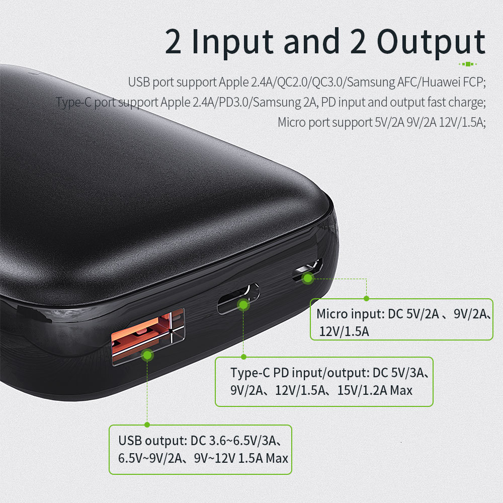 Essager 10000mAh Mini Power Bank 10000 Quick Charge 3.0 Powerbank For iPhone 11 Pro Max USB PD Portable External Battery Charger 4
