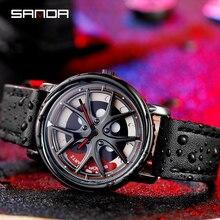 Reloj con rueda de coche para hombre, cronógrafos giratorios de 360 grados, resistente al agua, de pulsera de cuarzo, SANDA, tourbillon