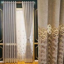 Luz de luxo europeu cortina sombreamento nordic simples cortinas para sala estar jantar quarto