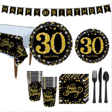 Black Gold Adult Birthday Party Disposable Tableware Set 30th Anniversary Decor Supplies