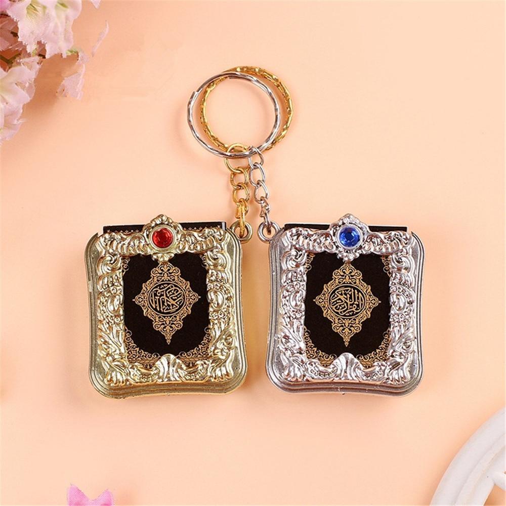 Cor do ouro mini árabe alcorão islâmico chaveiro allah papel real pode ler pingente chaveiro moda jóias religiosas a345