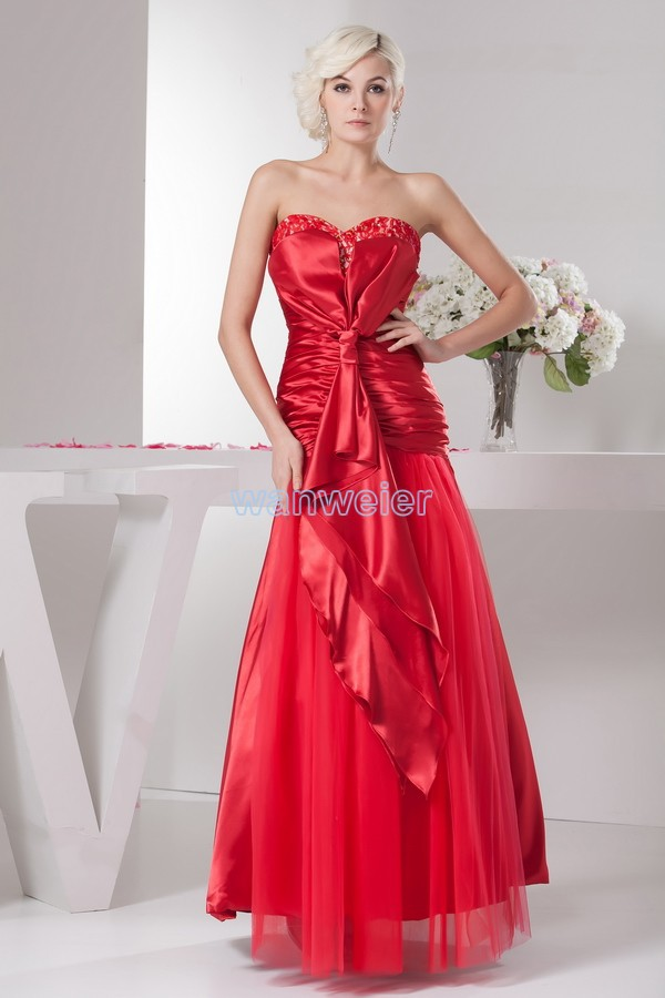 Free Shipping Vestidos Formales 2016 New Hot Sexy A-line High Quality Designer Maid Sweetheart Beading Red Lace Evening Dress