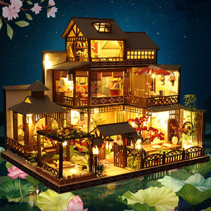 Assemble Diy Wooden Dollhouse Miniature 3d House With Furniture Led House Puzzle Toys For Children Friend Decorate Birthday Gift
