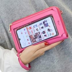RFID Transparent Window Phone Pocket Designer Women Shoulder Bags PU Leather Ladies Small Crossbody Bags Female Clutch Wallet