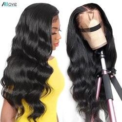 Allove Body Wave-peluca con malla Frontal, pelucas de cabello humano pre-arrancadas, pelucas de cabello humano brasileño con encaje Frontal ondulado, peluca de cabello humano 360 con encaje Frontal