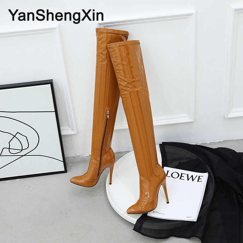 YANSHENGXIN femme bottes Super doux extensible jambe circonférence personnalisé en cuir verni bottes talons hauts 11.5CM femmes pompe chaussures