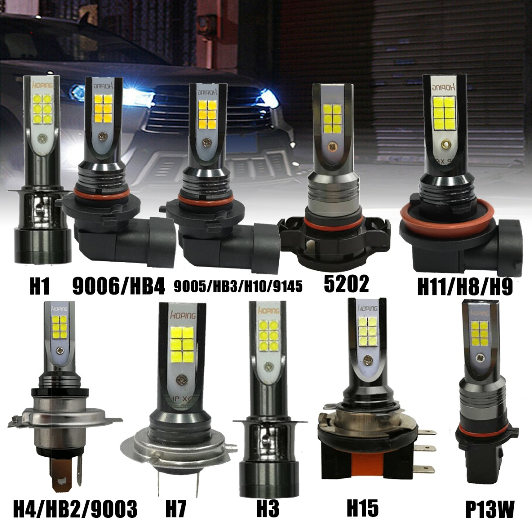 2pcs H1 H3 H4 H7 H11 9005 9006 H15 P13W 5205 CSP LED Car Headlight Bulbs 55W 10000LM 6000K For 12V To 24V Car Lighting