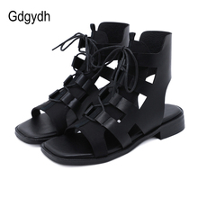 Gdgydh Lace Up Gladiator Sandals Square Open Toe 2021 New Arrival Low Heel Summer Shoes Women Black Punk Backsling Vintage