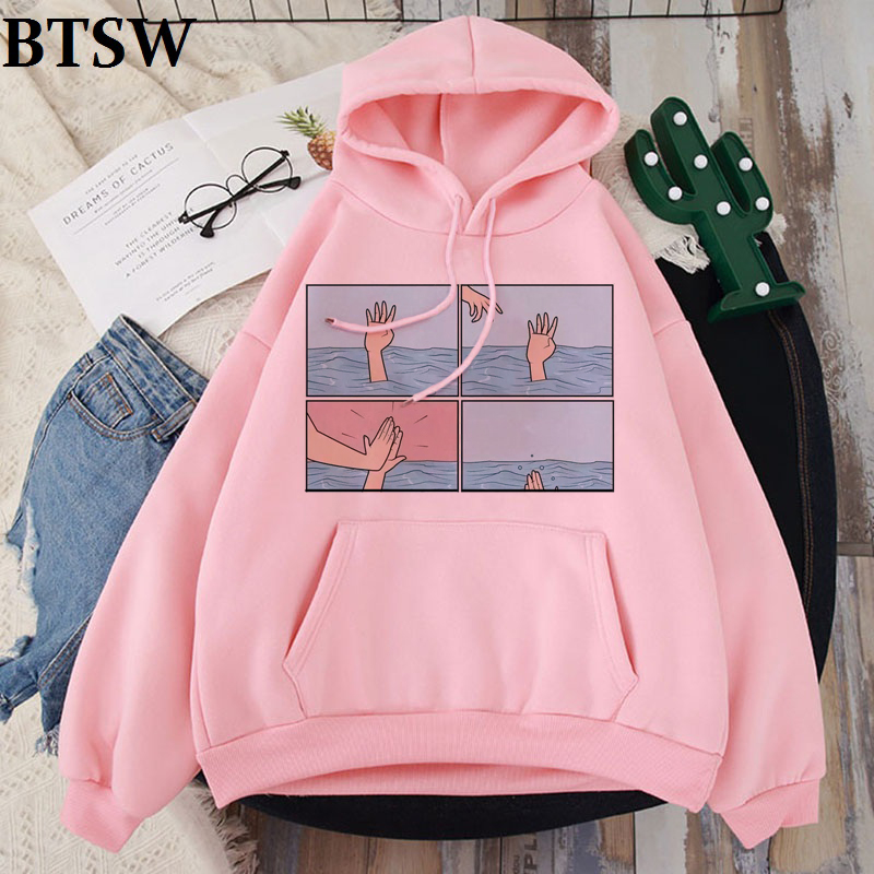 My Depression My Brain My Anxiety Letter Print Pink Hoodies Spoof Personality Vogue Harajuku Casual Loose Women Tops Clothing