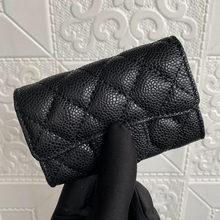 Com caixa de entrega rápida alta qualidade bola grão couro moeda bolsa feminina aleta caviar titular do cartão fivela pele carneiro carteira curta