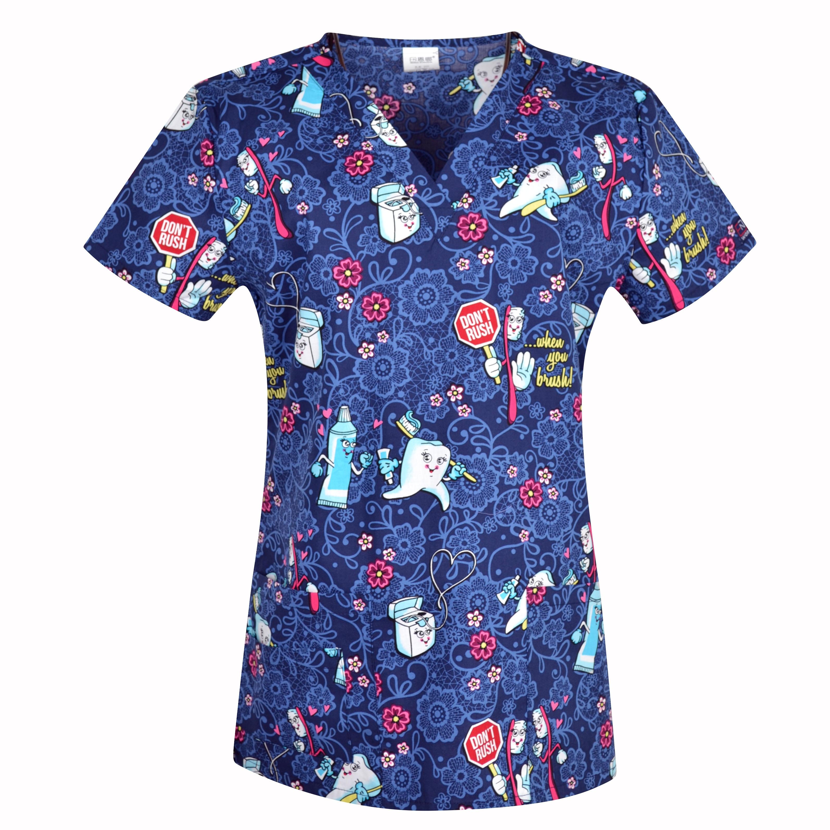 1910 NEW Hennar Women Scrub Top With V-Neck 100% Cotton Print Surgical Medical Uniforms Hospital Nurse Scrub Tops For Women