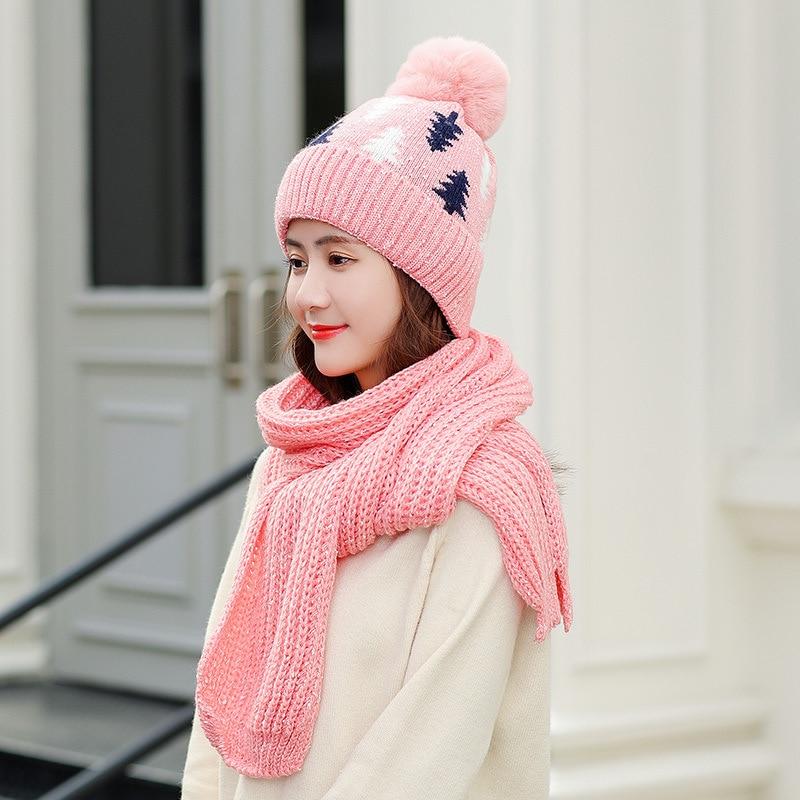 Winter Hat Scarf Gloves Set Warm Three Sets Women Men Plus Velvet Thickening  Knitted Wool Caps Scarf And Hat Women Ball Girls