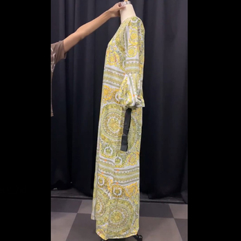 Autumn Long Sleeve Maxi Dress African Ladies Rich Bazin Golden Print Vintage Plus Size 3XL Floor Length Women Party Long Dress 4