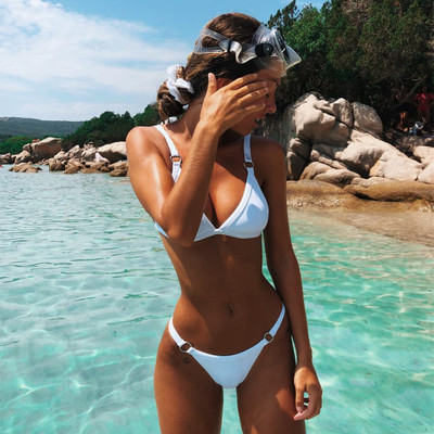 2019 New Style Bikini Europe And America Triangle Bag Cross Border Supply Of Goods Swimwear WOMEN'S Seperated Swimwear Solid Col