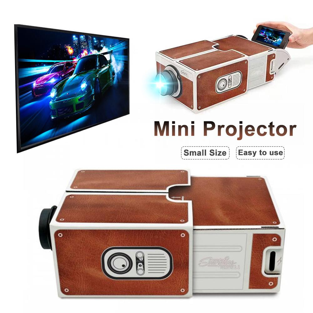 Portable 3D carton téléphone Portable projecteur ménage bricolage outil cinéma réglable Smartphone projecteur lumière nouveauté