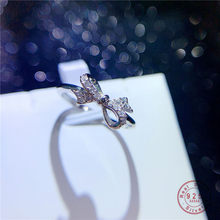 HI MAN 925 Sterling Silver French Sweet Romantic Pavé Crystal Bow Ring Women Fashion Temperament Engagement Jewelry