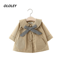 2019 Autumn New Girls Solid Color Plaid Jacket Girl Bow Tie Jacket Princess Party Windbreaker Fashion Cotton Children Clothes недорого