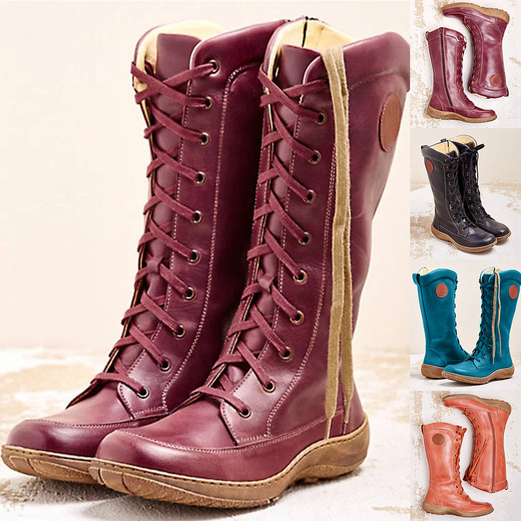 2020 Autumn Winter New Women's Fashion Casual Round Toe Rome Retro Zipper Long Boots Lace Up Shoes Boots Winter Women Boots #O13