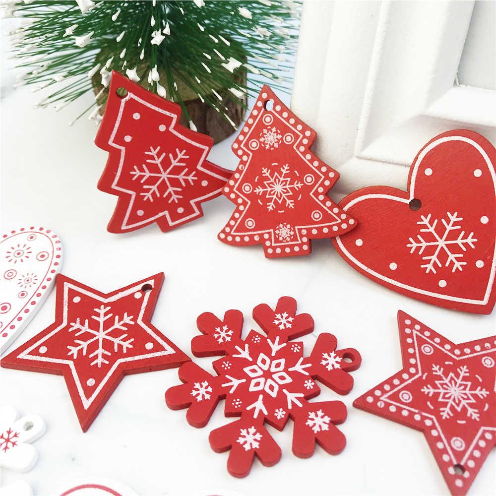 10 pçs ano novo árvore de natal de madeira natural ornamento pendurado pingentes presentes neve elk natal decoração adornos de navidad