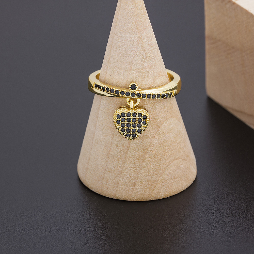 2021 New Fashion 6 Styles Heart Shaped Rings For Women Gold Color Adjustable Ring Best Party Wedding Anniversary Jewelry Gift 6